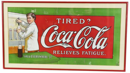 """Coca-Cola Relieves Fatigue """"Tired?"""" w/Soda Jerk Poster"""