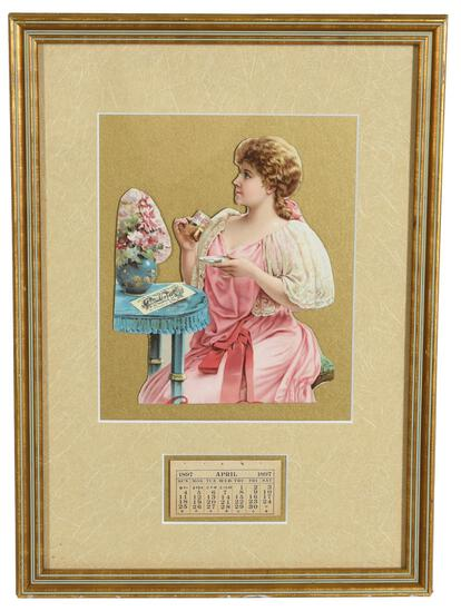 1897 Coca-Cola Calendar w/Lady Drink a Glass of Coke