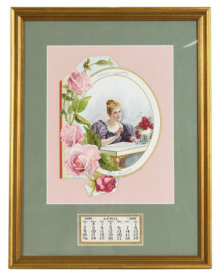 "1899 Coca-Cola Calendar ""Cures Headache"" Lady at Desk"