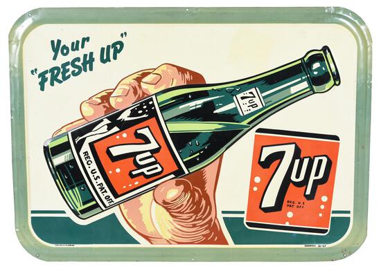 7up w/Swim Suit Girl on Bottle Metal Sign