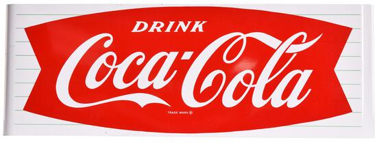 Drink Coca-Cola in Fish Tail Logo Porcelain Sleigh Sign