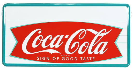 Large Coca-Cola in Fish Tail Metal Sign