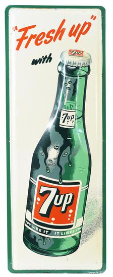 """""""Fresh Up"""" with 7up Bottle Metal Sign"""
