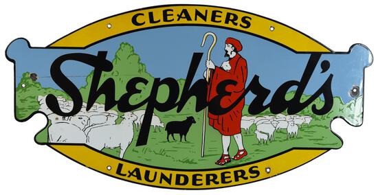 Shepherds Cleaners Launderers w/Logo Porcelain Sign