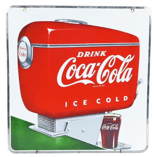 Drink Coca-Cola Ice Cold Dispenser Porcelain Sign