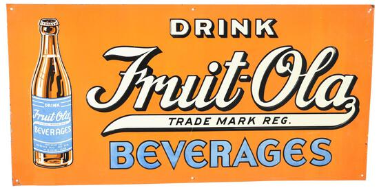 Drink Fruit-Ola Beverages w/Bottle Metal Sign