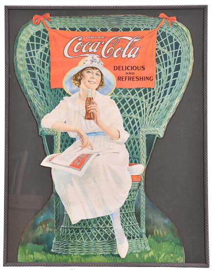 1919 Coca-Cola Lady Sitting in Winged Wicker Chair Diecut