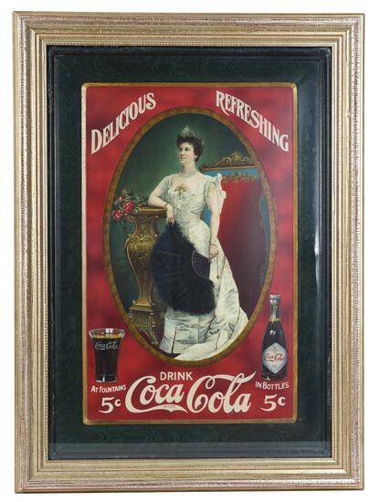 Rare 1905 Coca-Cola Lillian Nordica Self Framed Sign