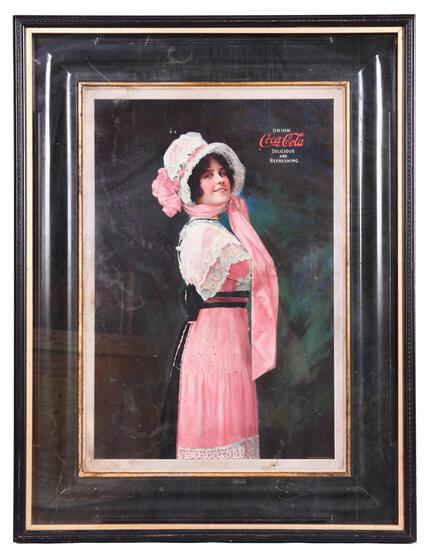 """1914 Coca-Cola """"Betty"""" Self Framed Sign"""