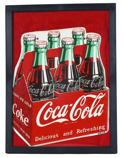 Coca-Cola Six-Pack of Bottles Metal Sign