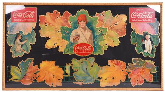 1927 Coca-Cola Festoon Autumn Leaves Women w/a Coke