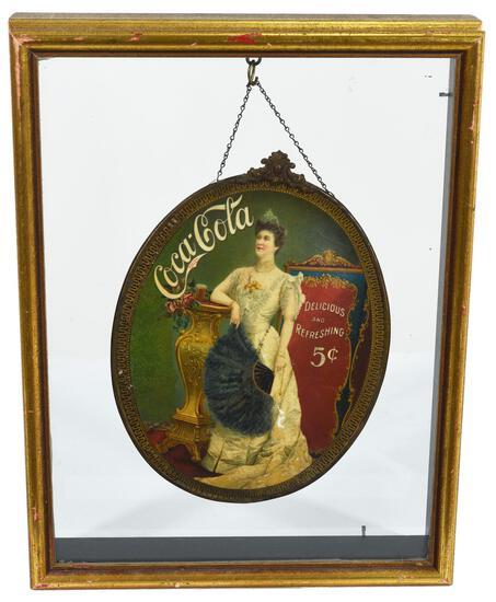 1905 Coca-Cola Celluloid Cameo Sign w/Lillian Nordica