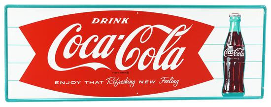 Drink Coca-Cola in Fish Tail w/Bottle Metal Sign