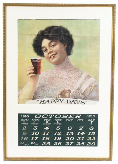 "Rare 1910 Coca-Cola ""Happy Days"" Calendar Top"