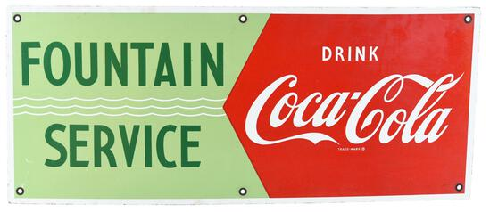 Drink Coca-Cola (red) Fountain Service Porcelain Sign