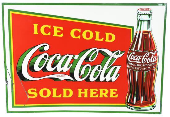 Coca-Cola w/Christmas Bottle Logo Metal Sign
