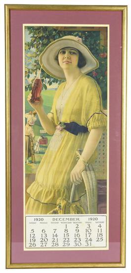 "1920 Coca-Cola w/""Golden Girl"" Hanging Calendar"