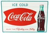 Coca-Cola in Fish Tail Logo w/Bottle Metal Sign