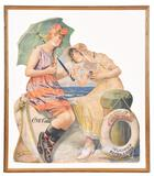 1924 Drink Coca-Cola Girls With Row Boat Cardboard Sign