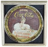 1900 Drink Coca-Cola Round Serving Tray Hilda with Glass