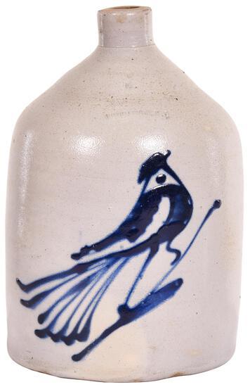White's 2 Gallon Stoneware Jug w/Cobalt Bird Decor