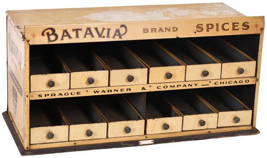 Batavia Brand Fancy Ground Spices Metal Display Cabinet