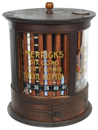 Merrick's Six Cord Soft Finish Spool Cotton Display Cabinet