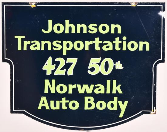 Johnson Transportation Norwalk Auto Body Metal Sign