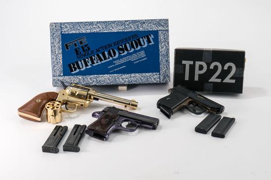 3 .22 hand gun lot Iver, FIE, Star