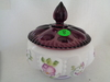 Fenton HP Pansy Powder Jar