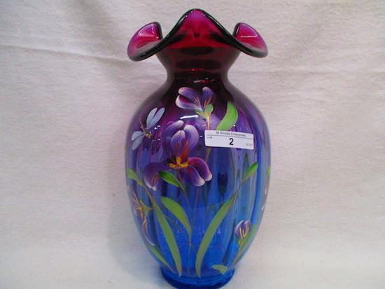 "Fenton 10"" HP Mulberry Vase - Kibbe"