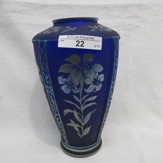 """Fenton 7.5"""" Sandcarved Favrene Vase - Designed By Martha Reynolds 11/1250"""