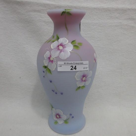 "Fenton 8"" HP Blue Burmese Vase - Caplinger Signed by Shelley Fenton"