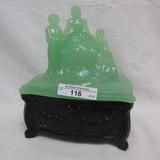 New Martinsville Jade/Ebony  Martha Washington Powder Box