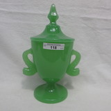 Fenton Jade Dolphin Handled Covered Candy