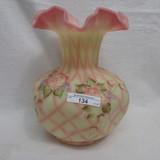 Fenton HP Roses on Diamond Optic Vase - Bryan