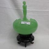 Fenton Jade Tulip Bowl with Nymph Frogger Base