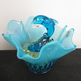 Fenton Blue Opal fish bowl with Marbles & HP Dolphin. COOL SET!!