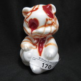 Fenton Red Hanging Hearts Blown Bear Dave Fetty
