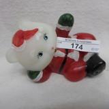 Fenton HP Santa Lounging Bear