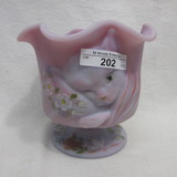 Fenton HP Blue Burmese Ruffle Top Chessie Cat COmpote - Cirlcle of Love - C
