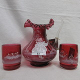 Fenton 3pc Cranberry Mary Gregory Water set