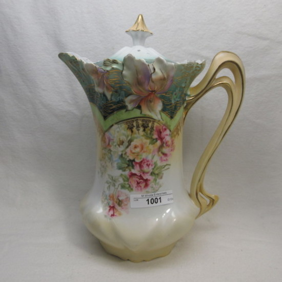 UM RSP Iris Variation mold floral chocolate pot w/ multi-color florals