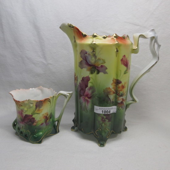 "UM RSP 9.5"" ft'd tankard and creamer w/ scattered flowers"