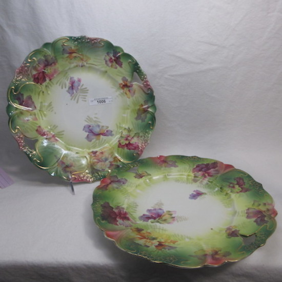"UM RSP scattered flowers 2 11"" cake plates matching"