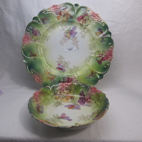 "UM RSP scattered flowers 12"" charger and 8"" bowl"