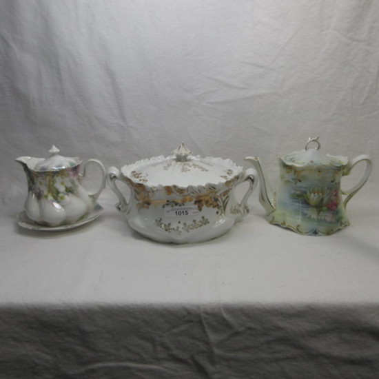 UM and RS Prussia teapot- syrup pitcher and cracker jar as shown