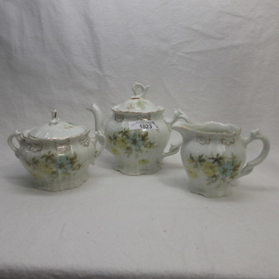 German floral 3 pc teaset w HP roses
