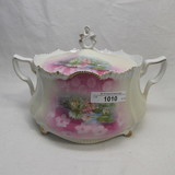 RS Prussia medallion mold cracker jar w/ pond lily decor