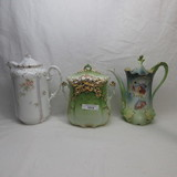 UM RS Prussia demitasse pot- chocolate pot and biscuit jar- as shown